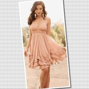 Arden B ~ Blush Dress with Tiered Ruffle Hem ~ XS
